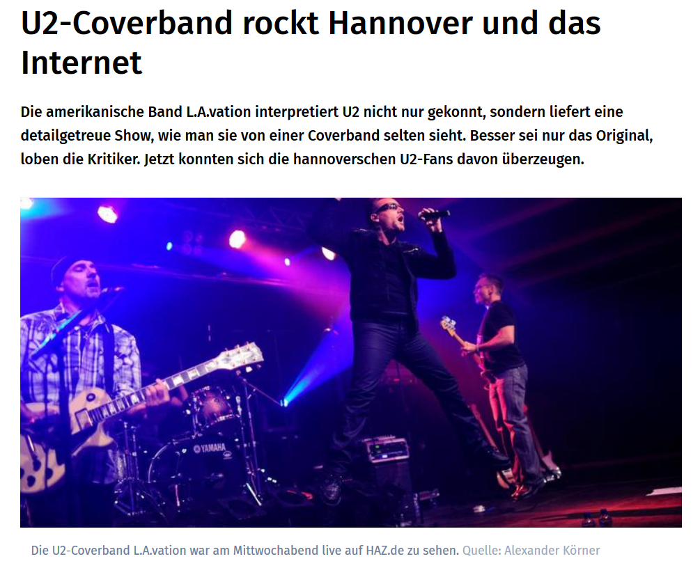 Konzert im Hangar No.5   U2 Coverband rockt Hannover und das Internet – HAZ – Hannoversche Allgemeine   2019 08 06 23.35.28 - Presse